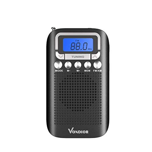 Digital AM FM Portable Pocket Radio with Alarm Clock- Best Reception and Longest Lasting. AM FM Compact Radio Player Operated by 2 AAA Battery, Stereo Headphone Socket (Black), by Vondior