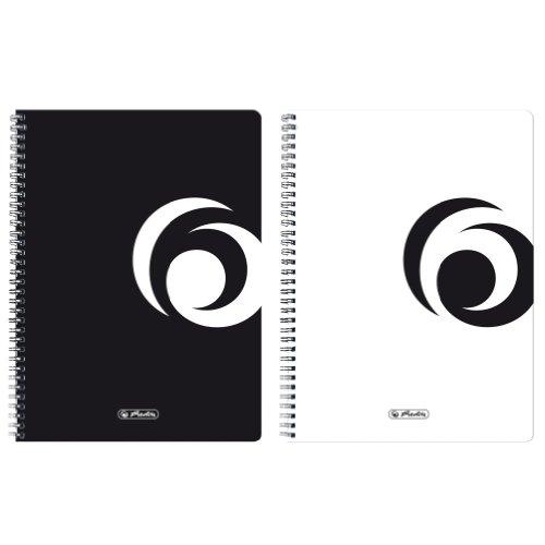 Herlitz 11155702 Notizblock, twin wire schwarz, 80 g/qm, A4, Sonderlineatur kariert, 80 Blatt 5er Packung