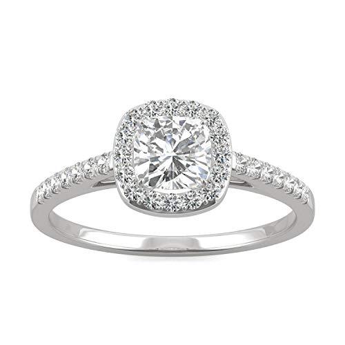 Charles & Colvard Forever One anillo de compromiso - Oro blanco 14K - Moissanita de 5.0 mm de talla cojín, 0.84 ct. DEW, talla 14,5