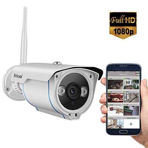 SriHome Caméra IP, Caméra de Surveillance HD WiFi Caméra de Sécurité Extérieure et Intérieure 720P, Etanche IP66/ Vision Nocturne/Détection de Mouvement pour iOS Android Windows