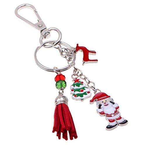 Hacoly - Llavero de Navidad para Bolso de Mano, llaveros de Coche, Accesorios para Llaves, Regalo para Hombres y Mujeres, Papá Noel, árbol de Navidad, Borla y Ciervo