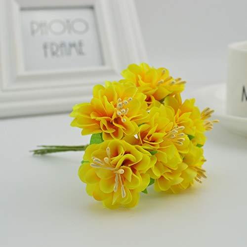Artificial Flowers 6pcs Carnation de Soie Maison de Mariage étamine Fleurs décoratives Scrapbooking DIY Cadeaux Couronnes Broderie boîte Fleurs artificielles (Color : Yellow)