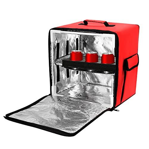 Kacsoo Pizza Delivery Mochila, bolsas de envío mejoradas, utilizadas para pizza, comida para llevar, bolsas térmicas grandes para transporte de alimentos calientes o fríos, 40 x 39 x 34 cm, rojo
