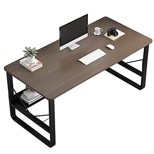 Escritorio de computadora moderno con estante de almacenamiento para el hogar la oficina la sala de estudio la estación de trabajo PC portátil mesa de escritura del cuaderno 47 pulgadas Marrón Rústico