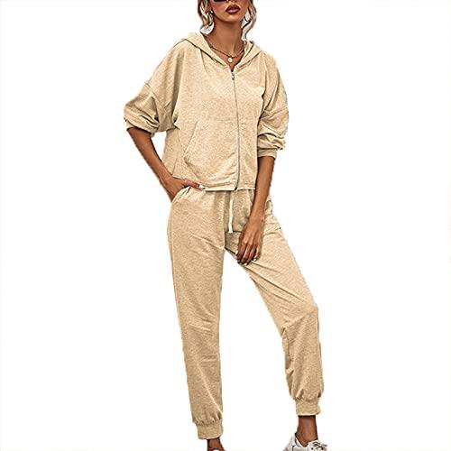 OtoñO E Invierno para Mujer Traje De Moda Informal con Capucha Color SóLido Chaqueta De Punto De Manga Larga SuéTer Informal Pantalones Deportivos Mujeres De Dos Piezas