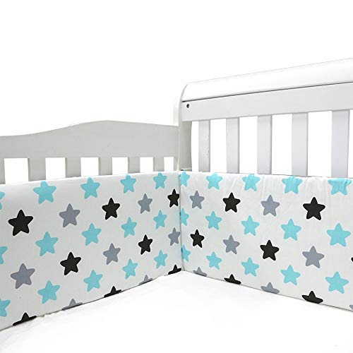Wowelife Crib Bumper Pads Safe Blue 4 Piece 100/% Cotton Crib Bumpers Pads for Baby Machine Washable Padded Crib Thick Padding for Crib Bed