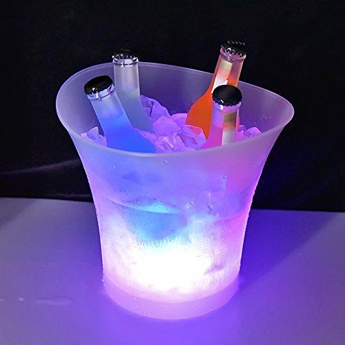 Colorido LED Luz Hielo Cubo de Champán, 5L LED Ice Bucket de Alta Capacidad 6 Colores cambiantes, IP65 Resistencia al Agua Champagne Vino Bebidas Cerveza Hielo Enfriador Curva Diseño Bar Club Pub