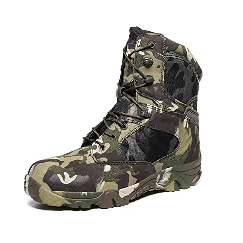 Botas de los hombres Tobillo Militar Combate Botas tácticas Camuflaje Deportes Casual Zapatos de trabajo al aire libre, Cp Green, 40 EU