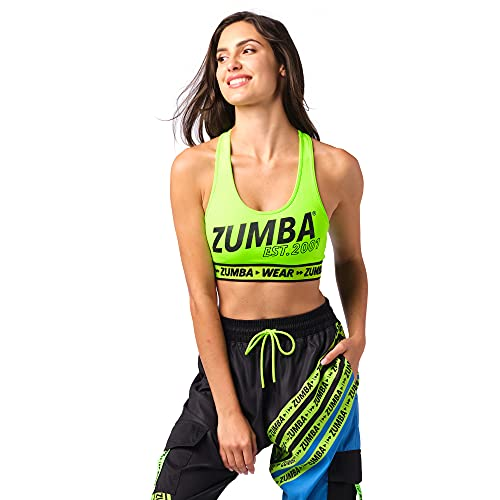 Zumba Athletic Dance Fitness High Impact Workout Active Sports Bra for Women, Lime EST, S