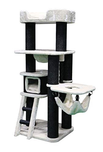 Petrebels Kratzbaum XXL Mainstreet 167 Soft Cream, Stabiler Kletterbaum für große Katzenrassen, auch für Maine Coon, Norwegische Waldkatzen oder Ragdolls, 167 cm, Farbe Beige / Creme