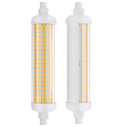 DiCUNO 2 Pezzi Lampadina LED R7s 118mm dimmerabile, 10W=lampada alogena 75W, 1100LM, Luce lineare con base R7s, Bianco caldo 3000K, 100-230V, Angolo del fascio 180 ° per faretto e applique