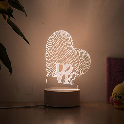 BNMMJ Romantiek Love 3D Hartvormige Ballon Acryl LED Nachtlampje Decoratie Tafellamp Valentijnsdag Cadeau