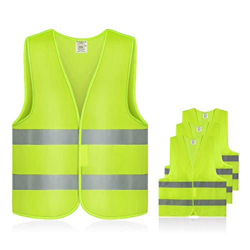 Warnwesten Auto,Gobesty Warnweste Sicherheitsweste,360 Grad Gut Sichtbar Reflektierende Warnschutzweste für Auto KFZ Fahrrad Motorrad mit Hohem Risiko,Waschbar,100{1cb3805d92940221e39604289b153e79a143824d55530d6dee462a49529a075a} Polyester,EN 471 Neongelb,4 Stück