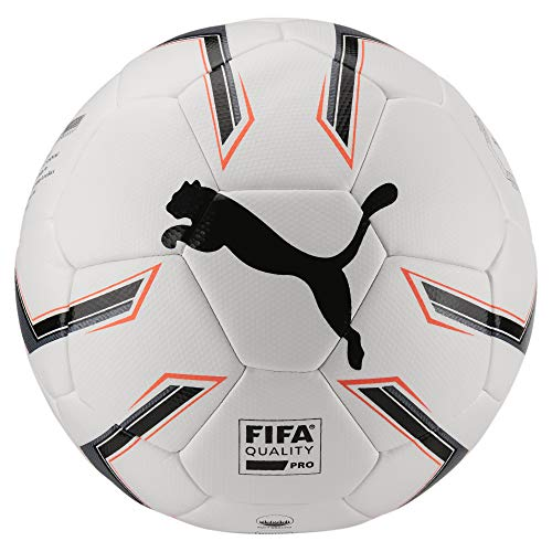 PUMA Elite 1.2 Fusion (FIFA Quality Pro) Ball Fußball, White Black-Fiery Coral, 5