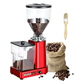 Huanyu Coffee Grinder Electric Flat Burr Grinding Machine Automatic Mill 35oz Coffee Bean Grinder with 19 Adjustable Grind Settings 36 Cups Professional Espresso Miller 200W Cleaning Brush Included