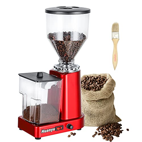 Huanyu Coffee Grinder Electric Flat Burr Grinding...