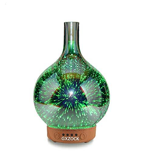 GXZOCK 3D Glas Aroma Diffuser,100ml Luftbefeuchter Ultraschall Vernebler Raumbefeuchter Elektrisch Duftlampe Öle Diffusor mit 7 Farben LED, duftlampe/Aromadiffusor/für Raum,Büro,Schlafzimmer, Yoga
