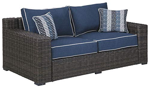 Signature Design by Ashley P783-835 Grasson Lane Loveseat, Brown/Blue