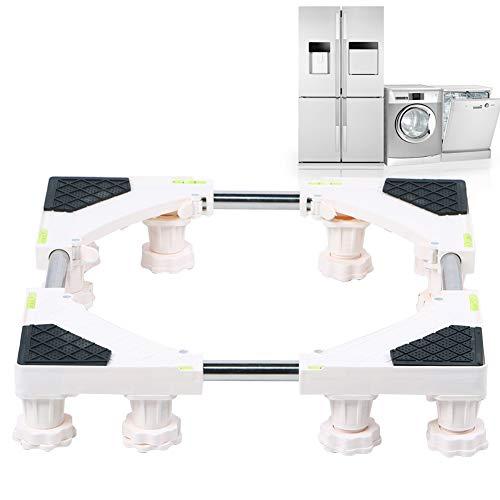 Carro para electrodomésticos ajustable de 12 pies con 4 ruedas giratorias con bloqueo, mueble para mover con ruedas, base móvil para lavadora, secadora, refrigerador y carrito portátil con soporte par