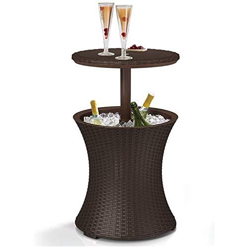 Patiomöbeln Und Whirlpool Beistelltisch Mit 7,5 Gallon Bier Und Weinkühler, Grau (Color : Brown)