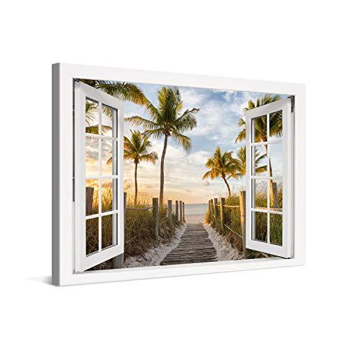 PICANOVA – Cuadro sobre Lienzo Palm Path to The Sea Window 120x80cm – Impresión En Lienzo Montado sobre Marco De Madera (2cm) – Disponible En Varios Tamaños – Colección Playas