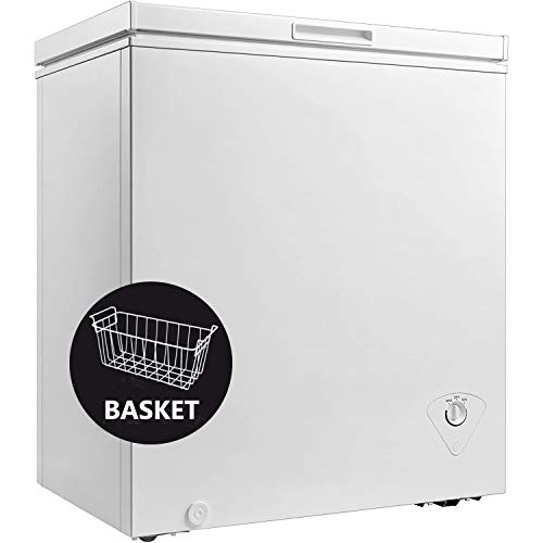 Smad Top Open Chest Freezer 5 Cu.ft Low Noise Freezer with Removable Hanging Basket Auto Hold Door Hinges Front Drain, White