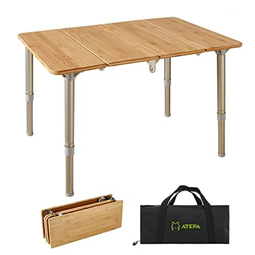 ATEPA アウトドア テーブル キャンプ テーブル 高さ調整可能 折りたたみ アウトドア用テーブル 竹製 4折り 60x40x30~40cm お花見 バーベキュー ピクニック