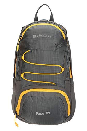 Mountain Warehouse Pace Rucksack, 12 l – leichter Rucksack, kleiner hydratationskompatibler Rucksack, Ripstop, gepolsterter Netz-Rücken, Gurtbänder – für Mann und Frau Grau Einheitsgröße
