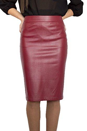 Stilvoller Damen Hohe Taille lässig Rock Bleistift Knielang Kunstleder Bordeaux Inner Futter, Größe EU 36 38 40 42 44 46 48 50 (42)