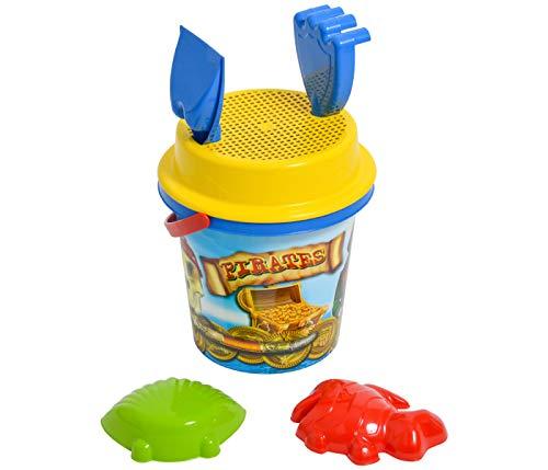 Alsino Sandkasten Sandspielzeug 1 Liter Eimer mit Sieb Kinder Spielzeug für kreative Jungs Piraten-Design inklusive 2 Förmchen