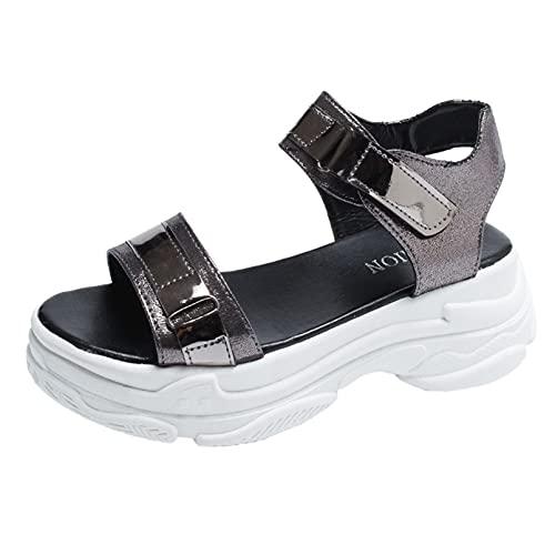 Sandalias de plataforma, para mujer, estilo romano, con puntera abierta, ajustable, para vacaciones, playa, zapatos de lazo y gancho, color, talla 35.5 EU