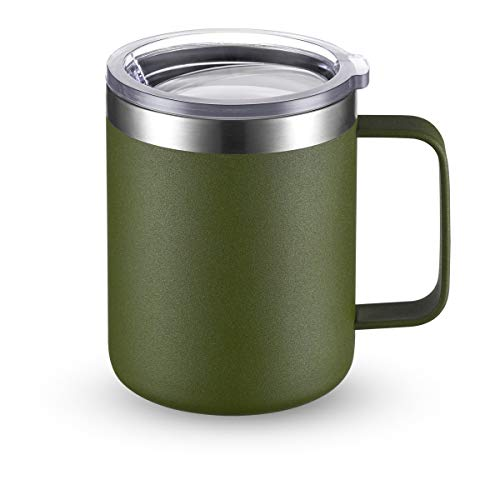 CIVAGO Stainless Steel Coffee Mug Cup with Handle, 12 oz Double Wall Vacuum Insulated Tumbler with Lid Travel Friendly (Olive, 1 Pack)
