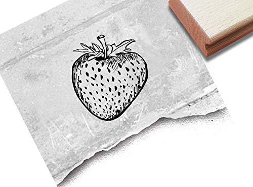 Stempel Motivstempel Erdbeere - Bildstempel für Karten Basteln Schilder Etiketten Tischdeko Scrapbook Garten Küche Geschenk Geburtstag - zAcheR-fineT
