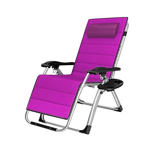 Zero Gravity Recliner Klappbarer Lounge-Stuhl Liegender Terrassenstuhl 250 kg im Freien mit Getränkehalter und Stahlrohr mit 40 mm Durchmesser, lila