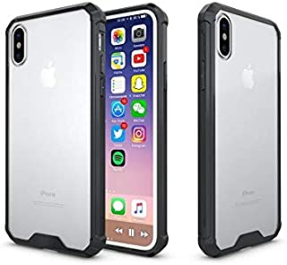 Asuwish iphone X Case, Shockproof, Crystal Clear Hard PC Back, Flexible Black Frame
