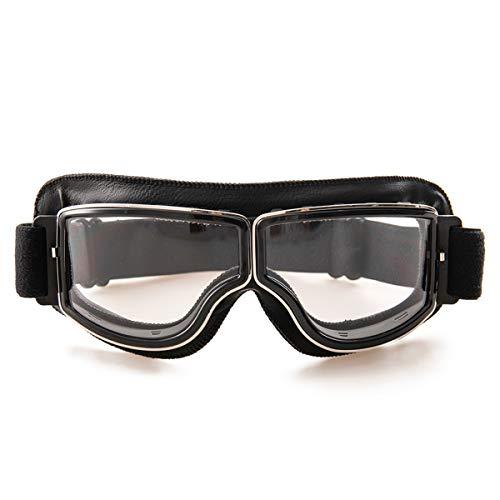evomosa Occhiali da moto in pelle PU,Occhiali da sole antivento Occhiali sportivi Occhiali da bici retrò per occhiali da motocross ATV (nero B)