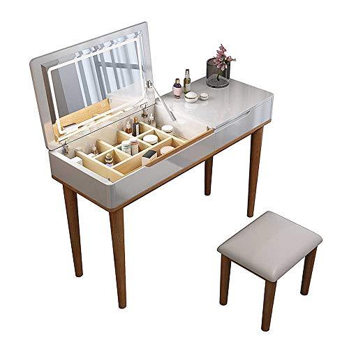 MYAOU Schminktische für Mädchen Weißer Schminktisch mit klappbaren Schönheitsspiegeln und Schmuck Aufbewahrung Schlafzimmermöbel Set mit Massivholzstuhl