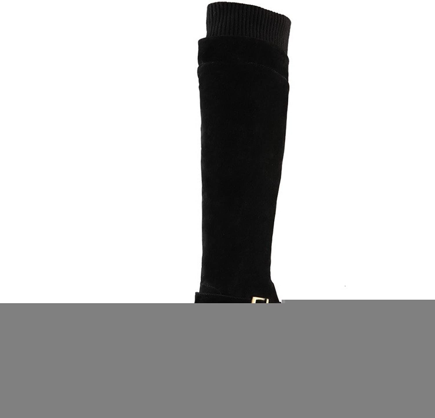 WeiPoot Womens Closed Round Toe Kitten Heel Xi Shi Velvet Solid Boots with Platform and Belt Buckle, Black, 7.5 B(M) US