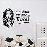 Citas en español Who Has Magic Beauty Peluquería Peluquerías Nail Spa Barbería Etiqueta de la pared Calcomanía de vinilo Sala de estar Studio Club Decoración para el hogar Mural