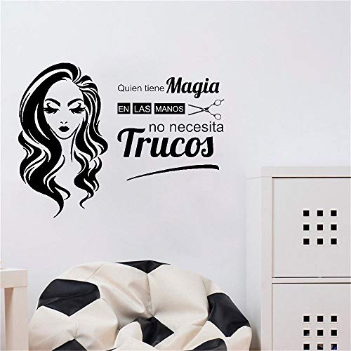 Citas en español Who Has Magic Beauty Peluquería Peluquerías Nail Spa Barbería Etiqueta de la pared Calcomanía de vinilo Sala de estar Studio Club Decoración para el hogar Mural