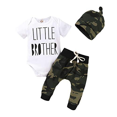 Ropa de bebé recién Nacido Little Brother 3 Piezas Outfit Romper Pants Pantalones Otoño Invierno Elefante Print Set