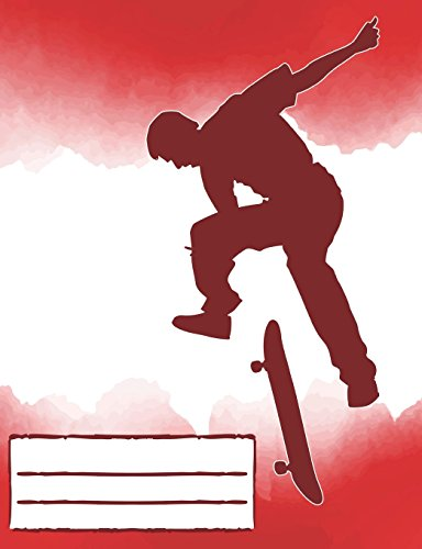 Flip Trick Skateboarding Composition Notebook Red: Skateboard Design College Ruled Lined Pages Book for Fans Stoked on Skating