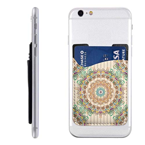 Credit Card Pocket Holder Square Round Mandala Decorative Phone Case for Card Holder with 3m Adhesive Stick-on Fits iPhone Android Most Smartphones Sticky Cell Phone Card Holder Best Credit Card Hold