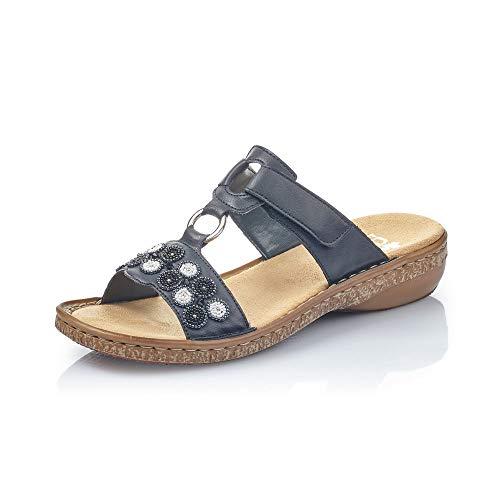 Rieker Damen Sandalen 62828, Frauen Riemchensandalen, leger römer-Sandale Sandalette Gladiatoren-Sandale sommerschuh Damen,Jeans / 14,38 EU / 5 UK