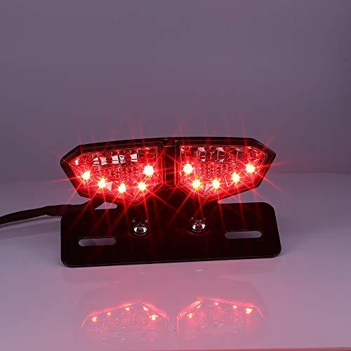 Krtopo Feu Stop de moto LED feu Arrière avec fumée de Clignotant Intégré D'immatriculation pour les Motos, SUV, VTT, Véhicules électriques