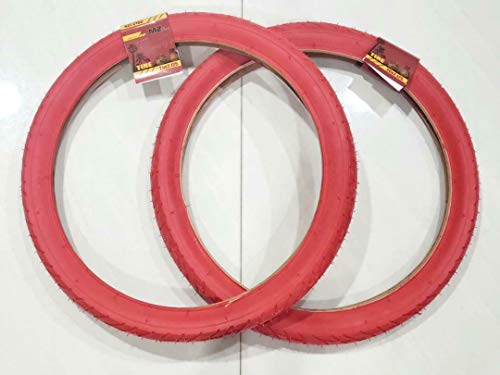 MZ PARTS MIAMI 20x2.125 Tires Bicycle (57-406) Two BMX Street Bicycle Tires (RED)