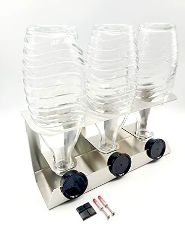 Flaschen Abtropfhalter Edelstahl kompatibel für DREI Sodastream Crystal Flaschen