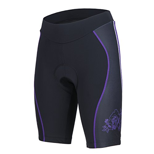 beroy Cycling Shorts for Women with 3D Gel Pad, Breathable Bike Shorts with Rear Mesh Panel(PF,M)