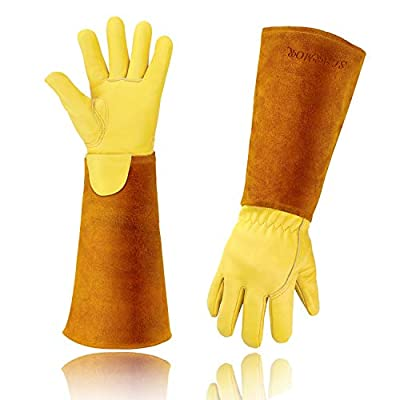 Gardening Gloves for Women/Men, Rose Pruning Thorn and Cut Proof Garden Work Gloves, Thick Cowhide Leather Work, Long Forearm Protection Gauntlet (S)