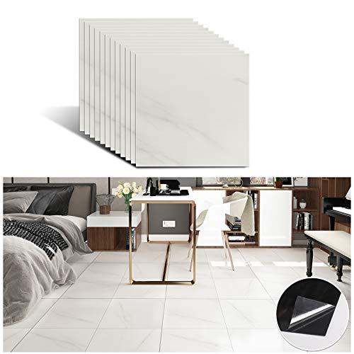 VEELIKE - Baldosas autoadhesivas para suelo de baño, mármol, cocina, azulejos, cenefa, de PVC, en blanco roto, 30 cm x 30 cm, 12 unidades